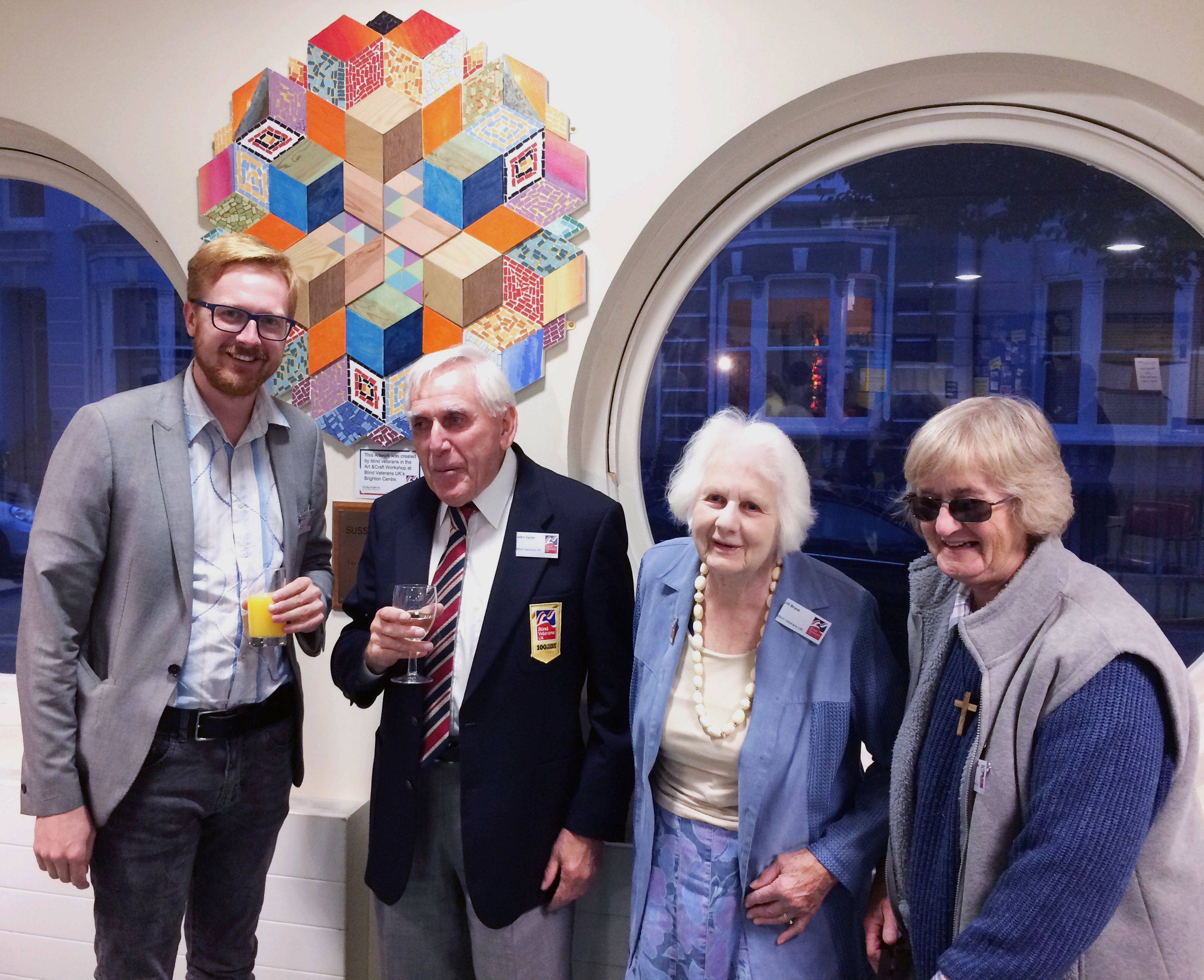 Lloyd Russell-Moyle MP with blind veterans John Taylor, Jill Bryce and Carole Sharpe